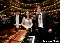 Crystal winner Sean Chen (left) silver medalist Beatrice Rana (center) and winner Vadym Kholodenko (right) in the 14th Van Cliburn International Piano Competition in Fort Worth, Texas, on June 9, 2013. (Ralph Lauer/ The Cliburn)