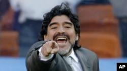 La légende du football argentin Diego Maradona, 17 juin 2010.