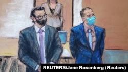 Optuženi Derek Šovin i njegov pravni zastupnik Erik Nelson tokom suđenja za ubistvo Džordža Flojda (Foto: REUTERS/Jane Rosenberg)