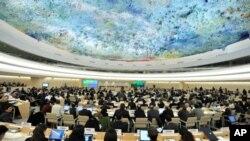 유엔 인권이사회(UNHRC) 회기 모습.