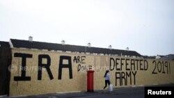 ການຂຽນໃສ່ຝາ ດ້ວຍຂໍ້ຄວາມທີ່ວ່າ IRA ເປັນກອງທັບ ທີ່ເສຍໄຊ ຢູ່ເມືອງ Londonderry ໃນໄອຣ໌ແລນເໜືອ. (19 ເມສາ 2019)