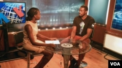 Basketball star Luol Deng during an interview by VOA's South Sudan In Focus reporter Ayen Bior in Washington, D.C., Aug. 27, 2015.