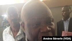 Maître Emmanuel Oko, avocat de l'Etat dans le procès Mokoko, le 7 mai 2018. (VOA/Arsène Séverin)