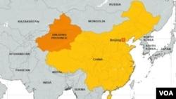 ແຜນທີ່ເຂດ Xinjiang ຂອງປະເທດຈີນ