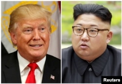 A combination photo shows President Donald Trump in New York, Sept. 21, 2017, and North Korean leader Kim Jong Un in this undated photo released by North Korea's Korean Central News Agency in Pyongyang, Sept. 4, 2017.