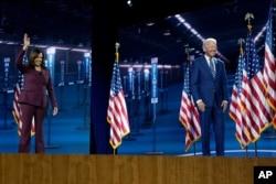 Democratic vice presidential candidate Sen. Kamala Harris, with running mate former Vice President Joe Biden, Aug. 19, 2020, in Wilmington, Delaware.