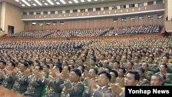 북한 당·정·군 간부들이 노동당 창건 70주년을 앞둔 7일 김정은 국방위원회 제1위원장에게 전달하는 축하문 채택 모임을 열었다고 조선중앙TV가 보도했다.