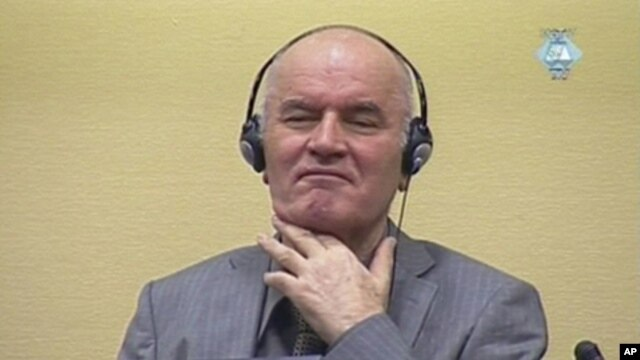 Former Bosnian Serb military commander Ratko Mladic appears in court at the International Criminal Tribunal for the former Yugoslavia (ICTY) in the Hague in this still image taken from video, June 3, 2011