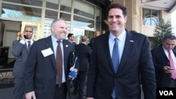 FILE - Israeli Ambassador to the United States Ron Detmer (right)