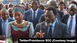 Le président Joseph Kabila Kabange inaugure le Centre commercial Hypnose, aux côtés de sa femme, à Lubumbashi, Haut-Katanga, 2 juin 2018. (Twitter/Présidence RDC)