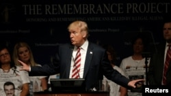 Republican presidential nominee Donald Trump speaks at a campaign event with members of the Remembrance Project, a group formed to honor and remember Americans killed by illegal aliens, in Houston, Texas, September 17, 2016.