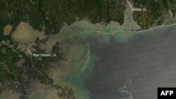 NASA'nın 25 Nisan'da Meksika Körfezi'nden aldığı uydu görüntüsü