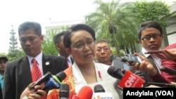 Menteri Luar Negeri Retno Marsudi di kompleks Istana Kepresidenan. (Foto: Dok)