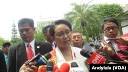 Menteri Luar Negeri Retno Marsudi di kompleks Istana Kepresidenan Rabu 17 Agustus 2016. (Foto:VOA/Andylala)