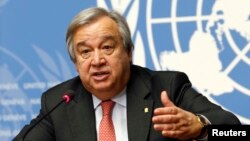 FILE - Antonio Guterres addresses a news conference at the United Nations in Geneva, Switzerland, Dec. 18, 2015.
