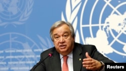 FILE - Antonio Guterres, United Nations High Commissioner for Refugees (UNHCR) addresses a news conference at the United Nations in Geneva, Switzerland, Dec. 18, 2015.