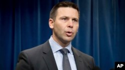 U.S. Customs and Border Protection Acting Commissioner Kevin McAleenan speaks at the U.S. Customs and Border Protection headquarters in Washington, Jan. 31, 2017, to discuss the operational implementation of the president's executive orders.