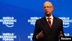 Klaus Schwab, World Economic Forum (WEF) Executive Chairman and founder speaks during the Crystal Awards ceremony of the annual meeting of the Forum in Davos, Switzerland, Jan. 16, 2017.
