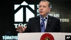 Turkish President Recep Tayyip Erdogan addresses a meeting in Ankara, Turkey, Feb. 11, 2016.