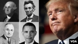 George Washington, Abraham Lincoln, Harry Truman, Barack Obama and Donald Trump