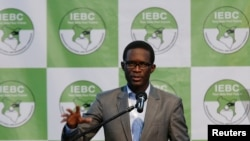 Chief Electoral Officer of Kenya's Independent Electoral and Boundaries Commission Ezra Chiloba speaks during a news conference in Nairobi, Kenya, Aug. 11, 2017.