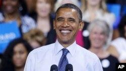5일 미국 버지니아주 조지메이슨대에서 유세 중인 바락 오바마 대통령.