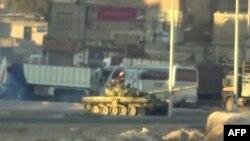 敘利亞政府軍坦克部署在大馬士革