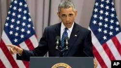 Presiden AS Barack Obama membela habis-habisan kesepakatan nuklir dengan Iran dalam pidato di American University di Washington DC, Rabu (5/8).