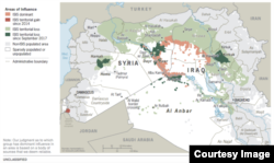 A look at areas of influence in Syria and Iraq, courtesy of the U.S.-led coalition.