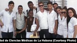 Juan Carlos Dominguez Lopez, second from left, and medical students at Universidad de Ciencias Médicas de La Habana.