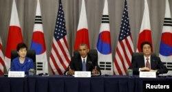 Barak Obama, Park Geun-hye və Şinzo Abe