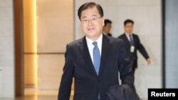 Cố vấn An ninh Quốc gia Hàn quốc Chung Eui-yong đến phi trường quốc tế Incheon ở Incheon, Hàn quốc, ngày 15/3/2018.