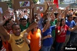 عکسی از دانشجویان معترض در پایتخت ونزوئلا