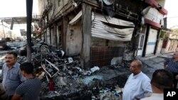 خرابی های ناشی از بمب گذاری های انتحاری در بغداد - ۷ اوت ۲۰۱۴