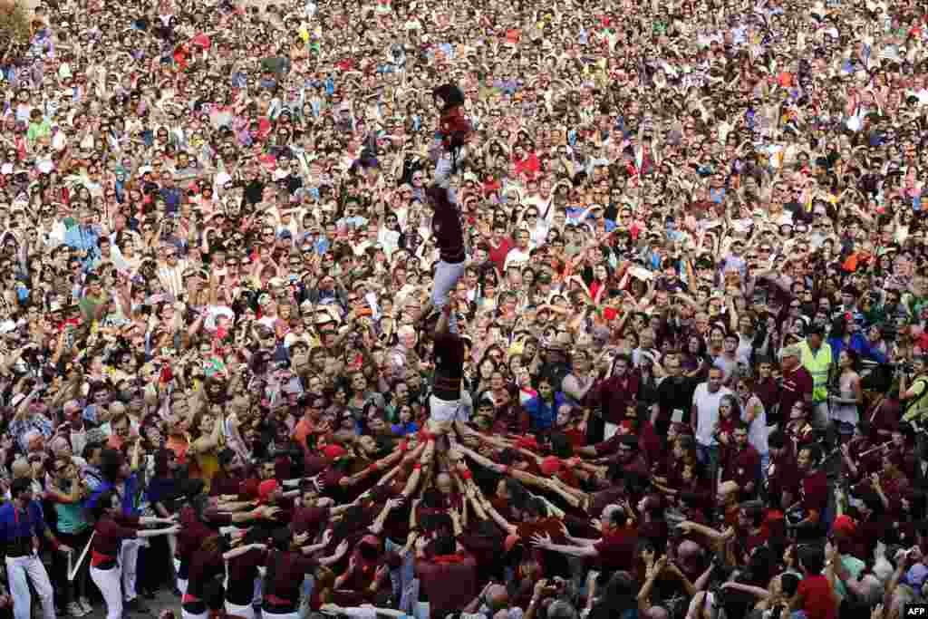 "Castellers ""Colla Jove de Barcelona"" form a human tower during a demonstration at the festival of the patron saint of Barcelona ""The Virgin of Mere"" at Sant Jaume square in Barcelona, Spain."