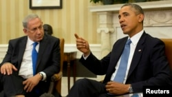 Presiden AS Barack Obama (kanan) menerima PM Israel Benjamin Netanyahu di Gedung Putih, Washington, Senin (30/9).