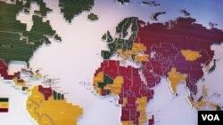 Peta kebebasan pers negara-negara di dunia. Warna hijau menunjukkan kebebasan pers sepenuhnya, warna kuning menunjukkan pers masih bebas sebagian, termasuk Indonesia, sementara warna merah menunjukkan tidak ada kebebasan pers.