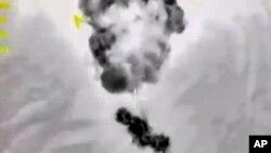 2일 러시아 국방부 웹사이트에 올라온 시리아 공습 사진.