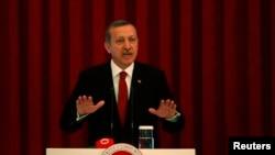 Turkey Prime Minister Tayyip Erdogan speaks during a conference in Ankara, Turkey, June 18, 2013.