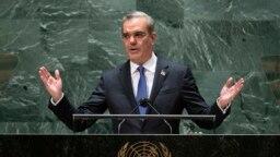 Prezidan Republik Dominikenn, Luis Abinader pran la pawol devan Asanble Jeneral Nasyonzuni.