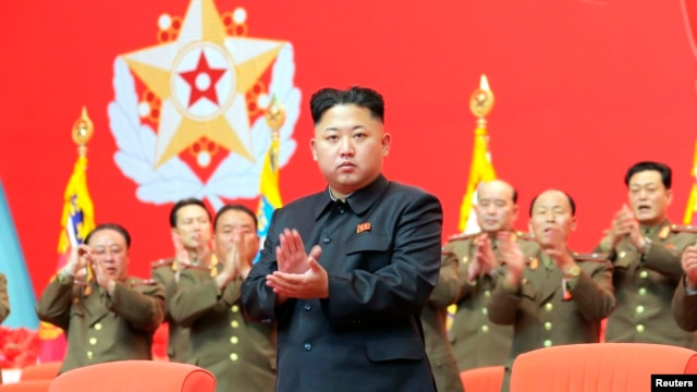 Lãnh tụ Bắc Triều Tiên Kim trong cuộc họp các nhân viên an ninh của Quân đội Nhân dân Triều Tiên (KPA) tại Nhà Văn hóa ở Bình Nhưỡng.