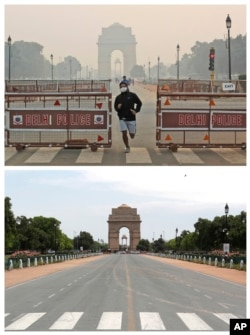 This combination of Monday, Oct. 28, 2019, top, and Monday, April 20, 2020 photos shows India Gate in New Delhi. India's air quality improved drastically during a nationwide lockdown to curb the COVID-19 coronavirus. (AP Photo/Manish Swarup)