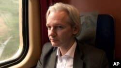 "This film publicity image released by Focus World shows Julian Assange in a scene from the documentary, ""We Steal Secrets: The Story of WikiLeaks."""