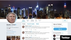 A portion of President Donald Trump's Twitter page.