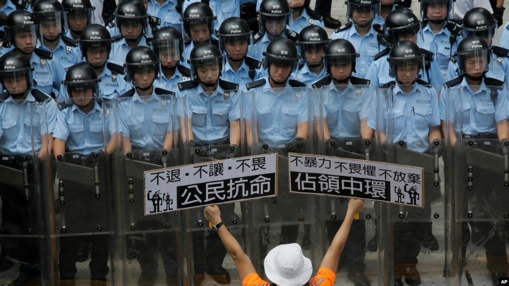 2014年香港和平占中运动(美联社)