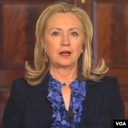 ລັດຖະມົນຕີຕ່າງປະເທດສະຫະລັດ ທ່ານນາງ Hillary Clinton ປະກາດກ່ຽວກັບການຜ່ອນຜັນການລົງໂທດຂອງສະຫະລັດ ຕໍ່ມຽນມາ, ວັນທີ 4 ເມສາ 2012.