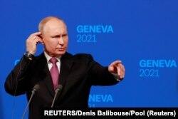 Putin na konferenciji za novinare nakon sastanka u ženevi sa Bidenom, 16. juni 2021.