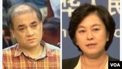庭审过程中面容憔悴的伊力哈木(左);华春莹(右)警告外国不要干涉中国司法公正(美国之音东方拍摄)