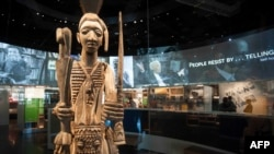 A statue is viewed during a press preview at the Smithsonian's National Museum of African American History and Culture in Washington, DC, Sept. 14, 2016