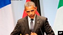 바락 오바마 미국 대통령이 8일 주요 7개국 정상회의가 열린 독일에서 기자회견을 하고 있다.